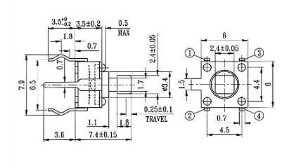 电动工具开关-轻触开关6×6tc-6605/微动开关/插座