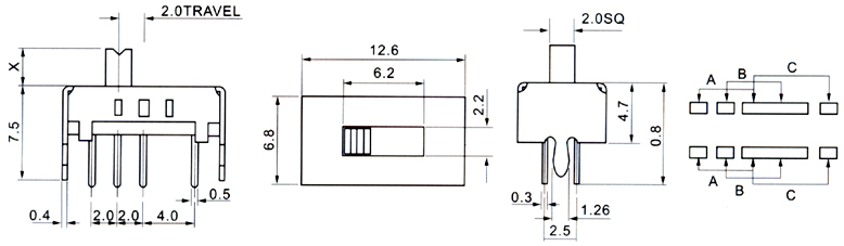 电动工具开关-供应拨动开关ss-23d08/轻触开关/船型-.