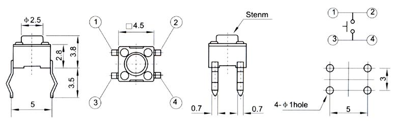 轻触开关4.5×4.5tc-4402/拨动开关插座
