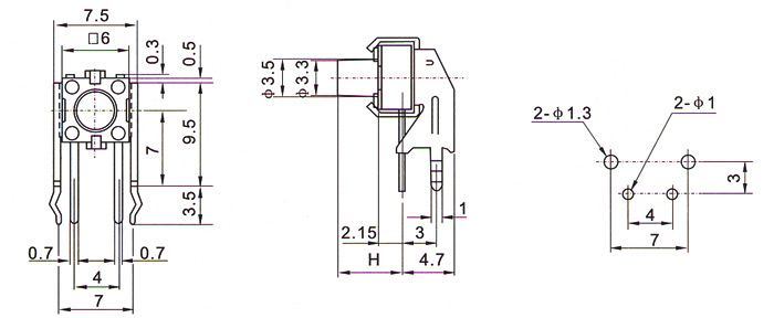 电动工具开关-轻触开关6×6ts-107/叶片开关插座